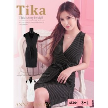 Tika ティカ モノトーンストライプスレンダーミディ丈ドレス (ホワイト/ブラック) (Sサイズ/Mサイズ/Lサイズ) キャバ ドレス キャバクラ