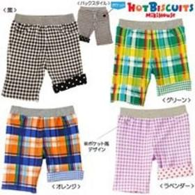 ホットビスケッツHOT BISUITS)ミキハウス ギンガムチェック柄6分丈パンツ(90・黒)
