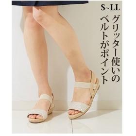 サンダル レディース グリッターゴム ベルト ウェッジ サイズ 黒/ベージュ 靴 22.5/23.0〜23.5/24/24.5cm ニッセン