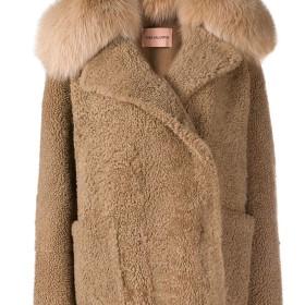 Yves Salomon curly fur jacket - ブラウン