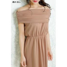 ドレス - Royal Cheaper 【amanda BLACK】スリットデザインオフショルダーフレアミディドレス(ベージュ)