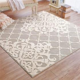 クラシックデザインラグ/絨毯 〔グレージュ 約95cm×130cm〕 日本製 洗える 抗菌防臭加工 〔リビング ダイニング〕