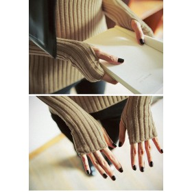 ニット・セーター - Miss R 在庫処分SALE特別価格!【Miss R PINK】指穴付き長袖ニットトップス 美ラインストレッチ(5色)【ミスアール】