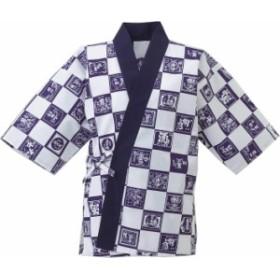 酒ラベル市松甚平 (和風白衣甚平) (厨房 調理 白衣)
