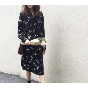 ワンピース ミモレ丈 花柄 シフォン ガーリー 黒 春 秋 レディース フリーサイズ #2235