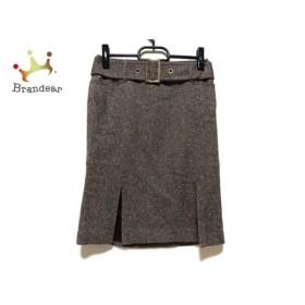 ピンキー&ダイアン Pinky&Dianne スカート サイズ38 M レディース 美品 ブラウン×白 ベルト付            値下げ 20190915