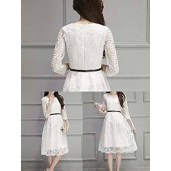 韓国 ファッション レディース ワンピース 総レース ひざ丈 七分袖 大きいサイズ シースルー ガーリー 春夏 結婚式 二次会