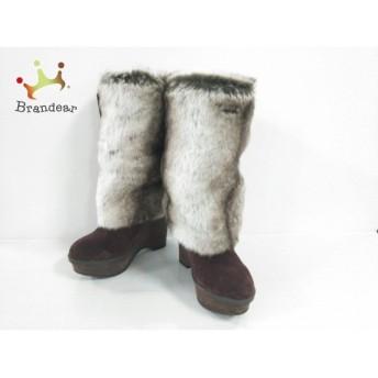 リズリサ LIZLISA ブーツ レディース ボルドー×白×ダークブラウン ウェッジソール/リボン 値下げ 20190305