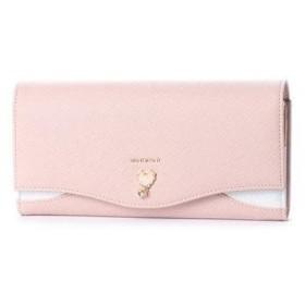 ミッシュマッシュ MISCH MASCH シェル シルバー箔合皮使用ハートブローチ付長財布 (ピンク)