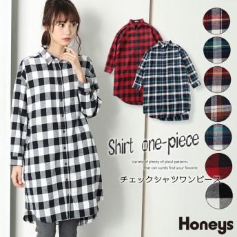 Honeys ハニーズ チェックシャツワンピース