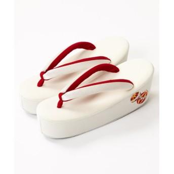 ふりふ まりぼんぼん刺繍草履 レディース オフホワイト F 【FURIFU】