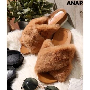 【セール開催中】ANAP(アナップ)フェイクファークロスサンダル