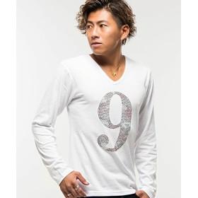 【9%OFF】 シルバーバレット CavariAライトストーンナンバリングカモフラージュ柄Vネック長袖Tシャツ メンズ ホワイト 44(M) 【SILVER BULLET】 【セール開催中】