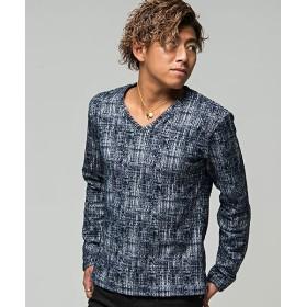 シルバーバレット CavariAモザイクチェックVネック長袖Tシャツ メンズ ネイビー 44(M) 【SILVER BULLET】
