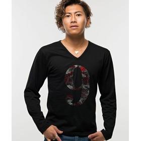 【9%OFF】 シルバーバレット CavariAライトストーンナンバリングカモフラージュ柄Vネック長袖Tシャツ メンズ ブラック 44(M) 【SILVER BULLET】 【セール開催中】