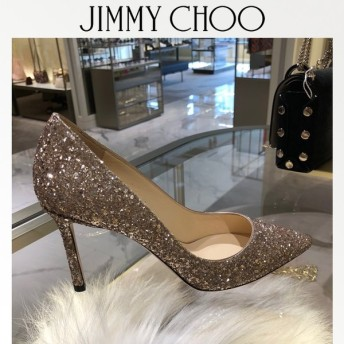 ジミーチュウ Jimmy Choo ROMY85 BALLET PINK グリッターパンプス サイズ36.5