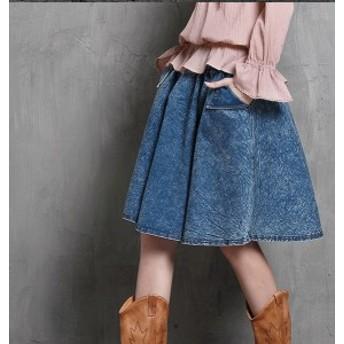 送料無料 デニムスカート ドレス フレアースカート ボトムス 膝丈スカート ミモレ丈スカート 膝下スカート レディース 大きいサイズ 秋冬