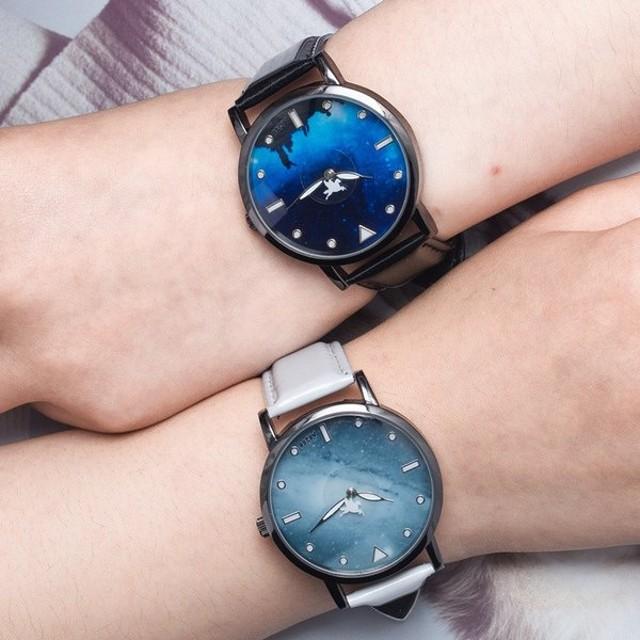 e15bb63f05 腕時計 アナログ ウォッチ 夜空 幻想的 男女兼用 ユニセックス ペアウォッチ シンプル おしゃれ カジュアル メンズ