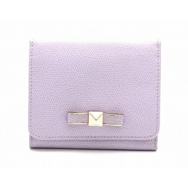 6498c44e5111 (財布)FURLA フルラ 3つ折財布 レザー 紫 パステルパープル リボンモチーフ (u