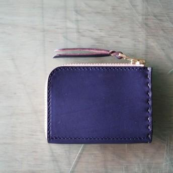 L字ファスナーの小型財布 ネイビー/紺糸/カーキ