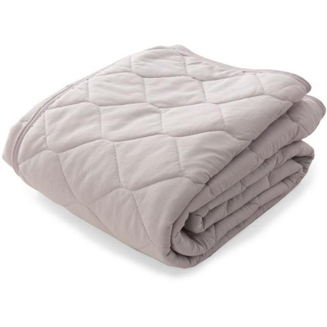 布団カバー シーツ 敷きパッド パッドシーツ 肌面綿100%の接触冷感ひんやり敷きパッド mofua グレージュ