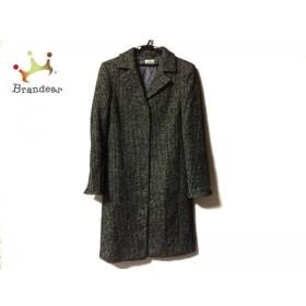 アニオナ AGNONA コート サイズ42 L レディース 美品 黒×白 肩パッド/冬物             スペシャル特価 20190820