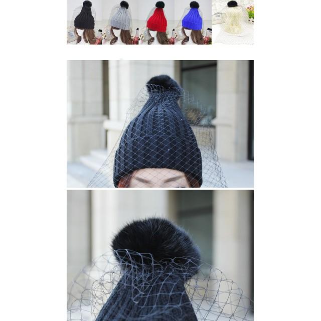ニット帽 - Miss R 【Miss R PINK】メッシュ付きリブ編みニットキャップ帽子/ポンポン&メッシュ取り外し可能(5色)【ミスアール】