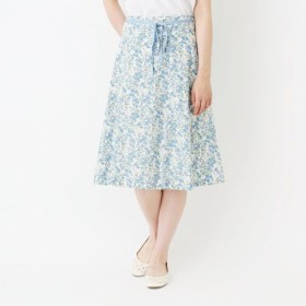 リバティ風花柄プリントフレアースカート[日本製] 「オフホワイト」