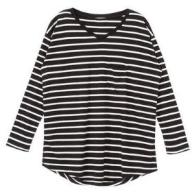 ユメテンボウ 夢展望 クルーネックorVネック長袖Tシャツ (ブラック×ホワイト(Vネック))