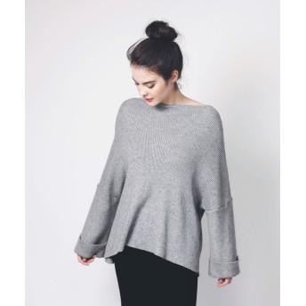 ニット・セーター - aimoha ワイドスリーブニット レディース セーター ニット 上品 ワイドスリーブ フレア袖 平行ネック 大人 女性