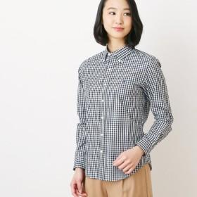 シャツ ブラウス レディース 刺繍入りボタンダウンシャツ ブラックギンガム
