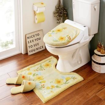 トイレマット 花柄 洗える すべりにくい 抗菌 防臭 エレガント おしゃれ 日本製 イエロー 標準マットのみ