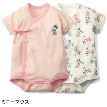 ベビー服 ディズニー 新生児半袖前開きボディスーツ2枚セット ミニーマウス