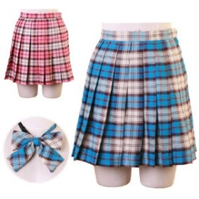 コスプレ スカート 2点セット 2色展開 制服 女子高生 リボン付 ハロウィン 衣装 costume701