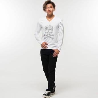 Tシャツ - SILVER BULLET Tシャツ メンズ クルーネック 長袖 ロンTCavariA【キャバリア】ライトストーンスカルナンバリングVネック長袖Tシャツ/全4色【トップス インナー 秋 冬 ホワイトブラック 白 黒 柄 ストリート ラウンド レイヤード】