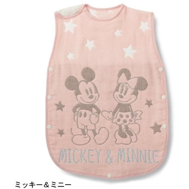 ベビー スリーパー ディズニー 綿100% 6重 ガーゼ 今治産 日本製 ミッキー&ミニー 身幅約37cm、着丈約58cm