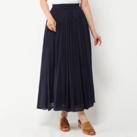 スカート レディース ロング インド綿100%ボイルガーゼ素材の2枚重ねカラースカート ネイビー