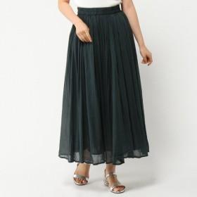 スカート レディース ロング インド綿100%ボイルガーゼ素材の2枚重ねカラースカート ブルーグリーン
