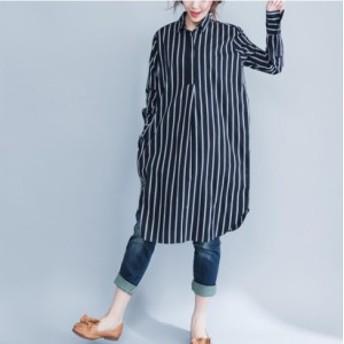新登場 春夏秋冬 シャツワンピース レディース 長袖 膝丈 ストライプ 大きいサイズ ロングシャツ ゆったり カジュアル 体型カバー