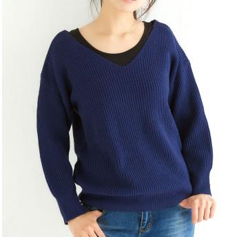 ニット・セーター - aimoha 抜け襟Vネックニット レディース セーター ニット トップス 大人 上品 秋 冬 春