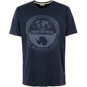 《9/20まで! 限定セール開催中》NAPAPIJRI メンズ T シャツ ダークブルー S コットン 94% / ポリウレタン 6% SABAINO