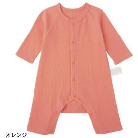 ベビー ベビー服 ロンパース GITA ジータ 綿100% カエルロンパース 前開き  オレンジ 60 70 80