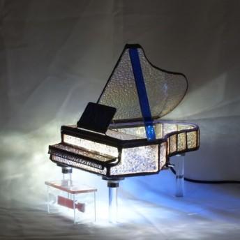 きらきらクリスタルのグランドピアノ TYPE2;ステンドグラスでLEDが点灯する手作りピアノ