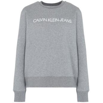 《セール開催中》CALVIN KLEIN JEANS レディース スウェットシャツ グレー XS コットン 63% / ポリエステル 37% INSTITUTIONAL REGULA