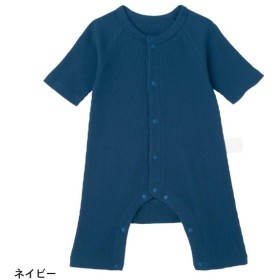 ベビー ベビー服 ロンパース GITA ジータ 綿100% カエルロンパース 七分袖 前開き ネイビー 60 70 80