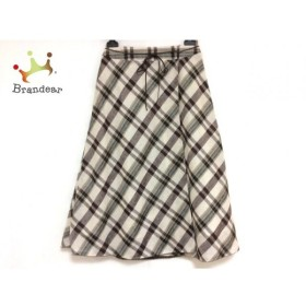 ロイスクレヨン 巻きスカート サイズM レディース 美品 ブラウン×アイボリー×グリーン       スペシャル特価 20190622