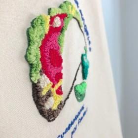 かわいいキャンバストートバッグ名入れイニシャルオーダー名前刺繍