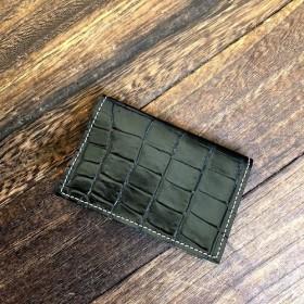 ワイルドブラック カードケース 本革 クロコ型押し 名刺入れ パスケース ブラック