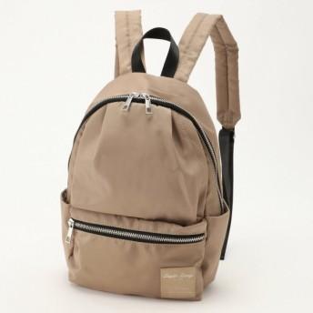 バッグ カバン 鞄 レディース リュック 撥水加工ナイロン調10ポケミニリュック カラー グレーベージュ
