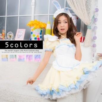 コスプレ コスチューム 4点セット 5色展開 スイーツメイド メイド ロリータ ハロウィン 衣装 costume835